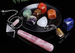 JIC Gem Chakra Stone Raw Healing Crystals kit 10 Pcs - Includes 7 Chakra Tumbles Stones, Rose Quartz Massage Wand, Crystal...