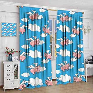 wonderr Print Customized Curtains W60 x L84 Inch,Blackout Draperies for Bedroom,Pig Decor,Flying Pig Cartoon Characters with Wings to Represent The Saying,Great Kid Clouds
