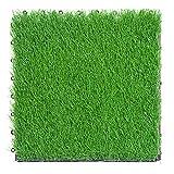 30 cm x 30 cm/1 ft x 1 ft PE ineinandergreifend gespleißter Boden, 30 mm Flor, Kunstrasen-Fliese für Garten, Terrasse, Balkon, Dachterrasse, Fliesen