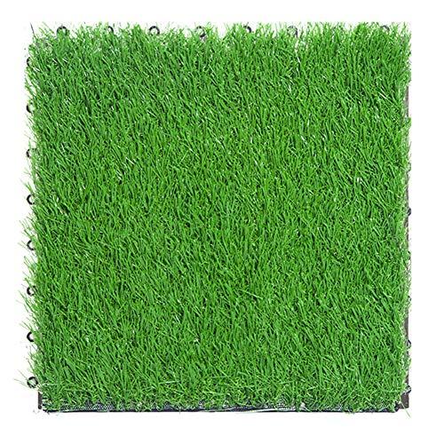 30 cm x 30 cm/1 ft x 1 ft PE ineinandergreifender gespleißter Boden, 30 mm hoher Flor, Kunstrasen-Fliese für Garten, Terrasse, Balkon, Dachterrasse, Fliesen, Bodenbelag