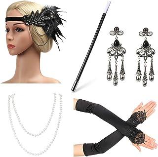 Beelittle 1923er Jahre Zubehör Set Flapper Stirnband, Halskette, Handschuhe, Zigarettenspitze Great Gatsby Zubehör für Frauen