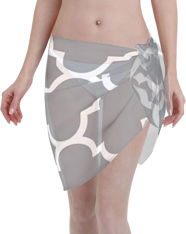 2053 pants Grey Quatrefoil Pattern Women Chiffon Beach Cover ups Beach Swimsuit Wrap Skirt wrap Bathing Suits for Women