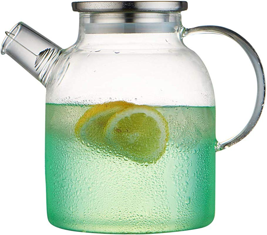 WarmCrystal Large Glass Cool Water Kettle Pitcher And Carafe Great For Tea Juice Water Coffee Lemonade And Ice 54 Oz