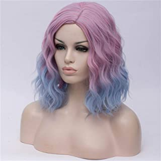 Hairpieces Woman Two Tone Short Synthetic Gradient White Blue Wigs Wavy Hair Wig for White Women Cosplay Middle Part Line ...