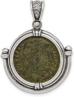 925 Sterling Silver Constantine Coin Pendant Charm Necklace Bezel Fine Jewelry For Women