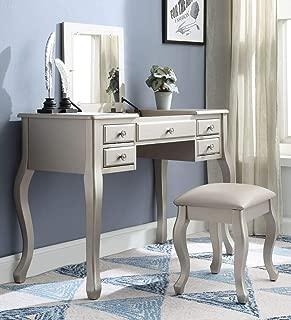 ACME Furniture 90368 Ordius Vanity Set, Tan Velvet and Silver