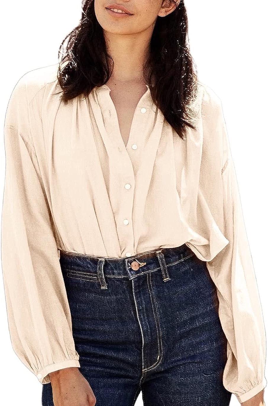 Women's Tops Ruffle Long Sleeve Casual Blouses Button Down Shirts