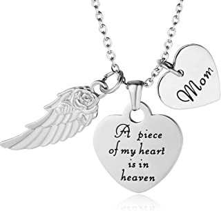 Memorial Necklace A Piece of My Heart is in Heaven Pendant Jewelry in Memory of Mom Dad Grandpa Baby Loss Memorial Gift