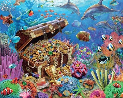 Lege DIY digitale olieverfschilderij op canvas, cadeau voor volwassenen, kinderen, schilderen op cijfers, schatten, onderwaterornament, ideaal voor thuis, woonkamer, hotel, restaurant, bar, 40 x 50 cm