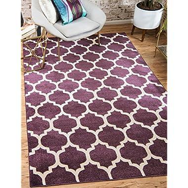 Unique Loom Trellis Collection Moroccan Lattice Purple Area Rug (3' x 5')