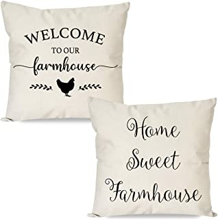 PANDICORN Set of 2 Farmhouse Pillow Covers 18x18 with Words Welcome to Our Farmhouse Home Sweet Farmhouse, Rustic Black and Cream Throw Pillow Cases for Couch Outdoor Porch