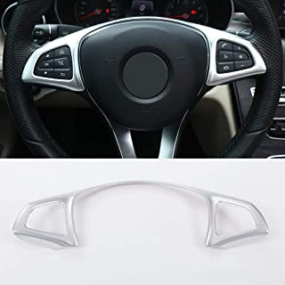 Xotic Tech Auto Interior Decoration 12 x Car Steering Wheel Button Cover Trim Decor for Mercedes A B C Class CLS GLA GLE GLS Chrome Silver