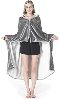 Bencier Sweatshirt Sherpa Wearable Hood Throw Blanket Super Soft Warm Plush Office School Home Nap Sleep Blankets(Grey)