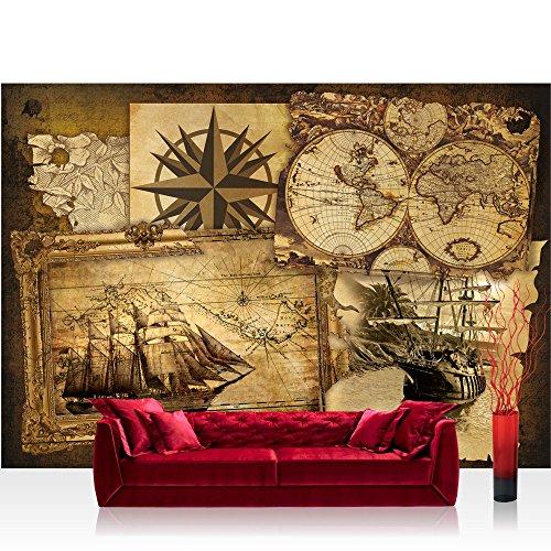 Fototapete 254x184 cm PREMIUM Wand Foto Tapete Wand Bild Papiertapete - Geographie Tapete Geografie Karte Schiff Vintage Kompass braun - no. 1861