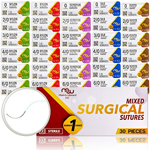 Suture Thread with Needle 30Pk (Mix 0, 2/0, 3/0, 4/0, 5/0, 6/0) - Practice Suturing; Camping Survival Demo, Military Tactical Drill, Hospital Clinic Rotation, First Aid Travel Safety, Veterinary Use