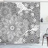 ABAKUHAUS Mandala Duschvorhang, Eastern Ethnic Floral, Bakterie Schimmel Resistent inkl. 12 Haken Waschbar Stielvoller Digitaldruck, 175 x 180 cm, Grau Weiß