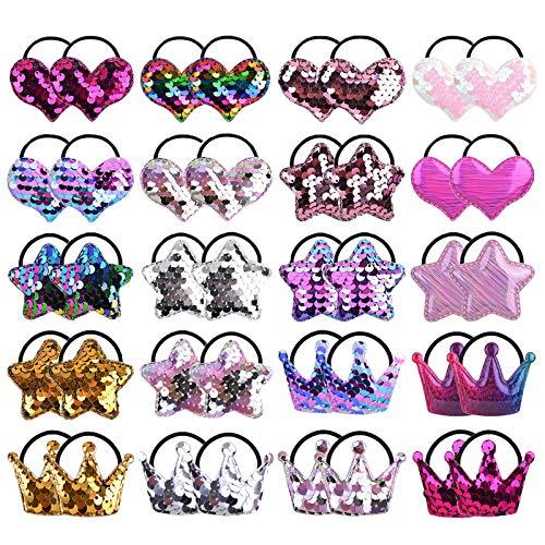 40 Stück Baby Mädchen Haargummis Pailletten Elastisches Stirnband Weichgummi Haarband Mehrfarbiger Pferdeschwanzhalter für Kleinkinder Kinder