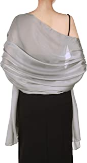 Women Satin Scarves Long Shawl Wrap Light Soft Sheer Scarf for Wedding Party Everyday Accessory (Silver Grey)