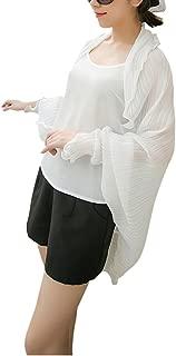 JIAHG Women Sheer Beach Shawl Summer Cool Chiffon Sun Coat Quick Dry Sun Protection Blouses Driving Riding Sunscreen Clothing