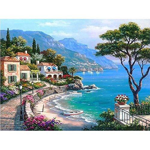 Kunst Malen nach Zahlen Mediterrane Landschaft DIY Digital Painting Moderne Wandkunst Leinenmalerei Special Gift Home Decor-50 * 65cm