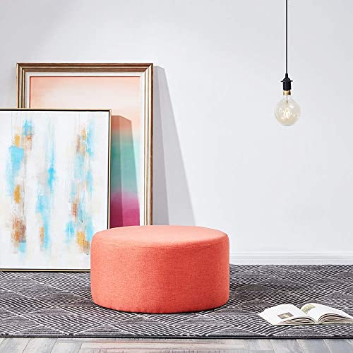 """lowest BELLEZE Modern 24"""" Round Pouf Fabric high quality Footstool Living Room lowest Ottoman, Orange online sale"""