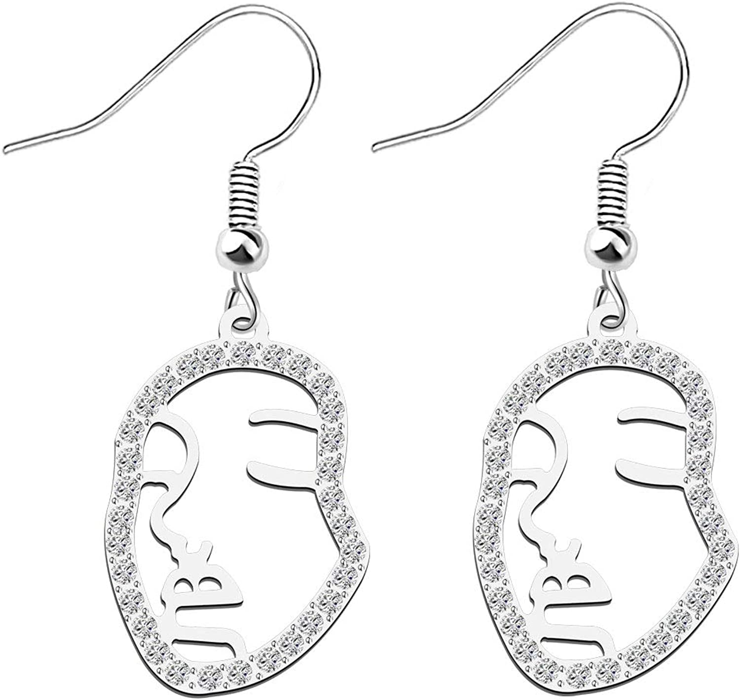 Face earrings Abstract Face Flower Petal Long and Small Earrings