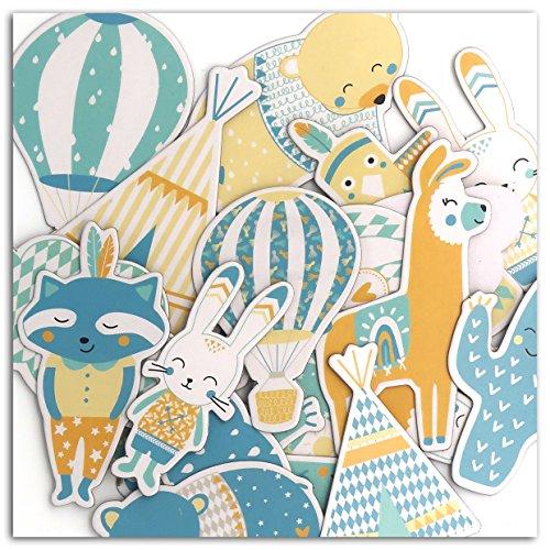 Toga naissance CH76, - Leonard & Josephine Lot de 20 Formes Chipboards, Autre, Multicolore, 7 x 0.3 cm
