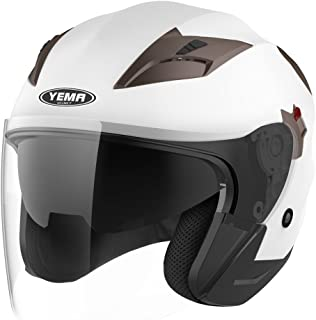 Motorcycle Open Face Helmet DOT Approved - YEMA YM-627 Motorbike Moped Jet Bobber Pilot Crash Chopper 3/4 Half Helmet with Sun Visor for Adult Men Women - White,Large