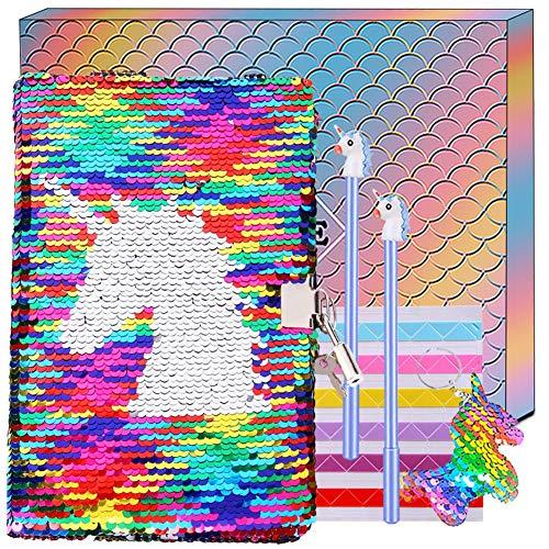 Taccuino Unicorno Diario Segreto per Bambina A5 Diario di Paillettes Reversibile,Quaderni Unicorno con Penne Set Cancelleria Regalo di Compleanno per Ragazza