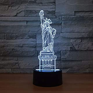 3D Statue of Liberty Lamp Night Light Touch Table Desk Optical Illusion Lamps 7 Color Changing Lights Home Decoration Xmas Birthday Gift