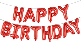Happy Birthday Balloons, Aluminum Foil Banner Balloons for Birthday Party Decorations and Supplies (Red)