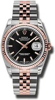 Rolex Datejust Black Stick Dial Fluted 18k Rose Gold Bezel Jubilee Bracelet Mens Watch 116231BKSJ