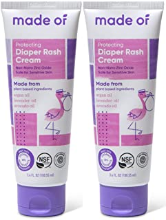 Sponsored Ad - Organic Diaper Rash Cream by MADE OF – NSF Organic Baby Diaper Cream with Avocado Oil & Argan Oil (Fragranc...