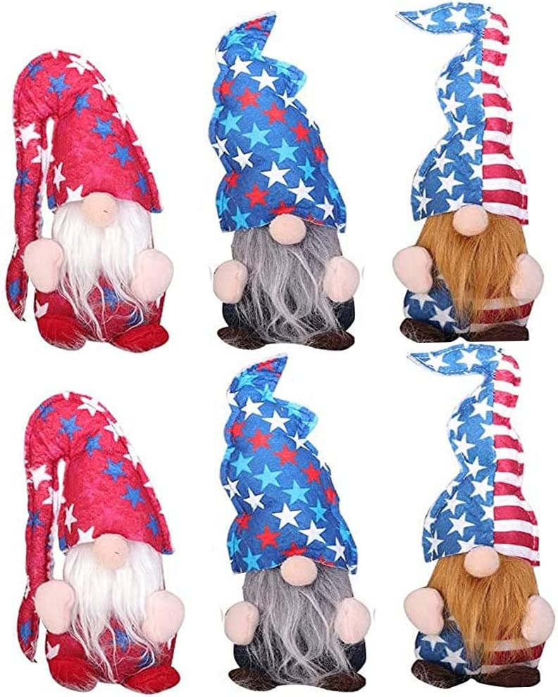 6PCS Independence Day Decor Lucky Gnomes Decorations,4th of July Home Decor,Handmade Memorial Day Elf Dwarf Scandinavian Ornaments Home Tiered Tray Decorations