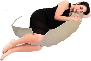 BabyCANGAROO® Cojín de embarazo para dormir y lactancia, soporte lumbar cervical y vientre, fabricado en Italia, Oeko-Tex (blanco a rayas, gris)