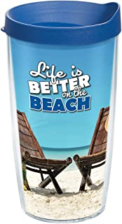Tervis 1126842 Life is Better on the Beach Tumbler with Wrap and Blue Lid 16oz, Clear