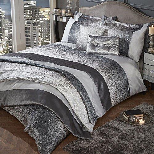 Tony's Textiles Glitter Crushed Velvet Quilt Duvet Cover Set - Silver Grey (Double)