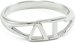 The Collegiate Standard Sterling Silver Delta Gamma Sorority Ring with Greek cut-out letters
