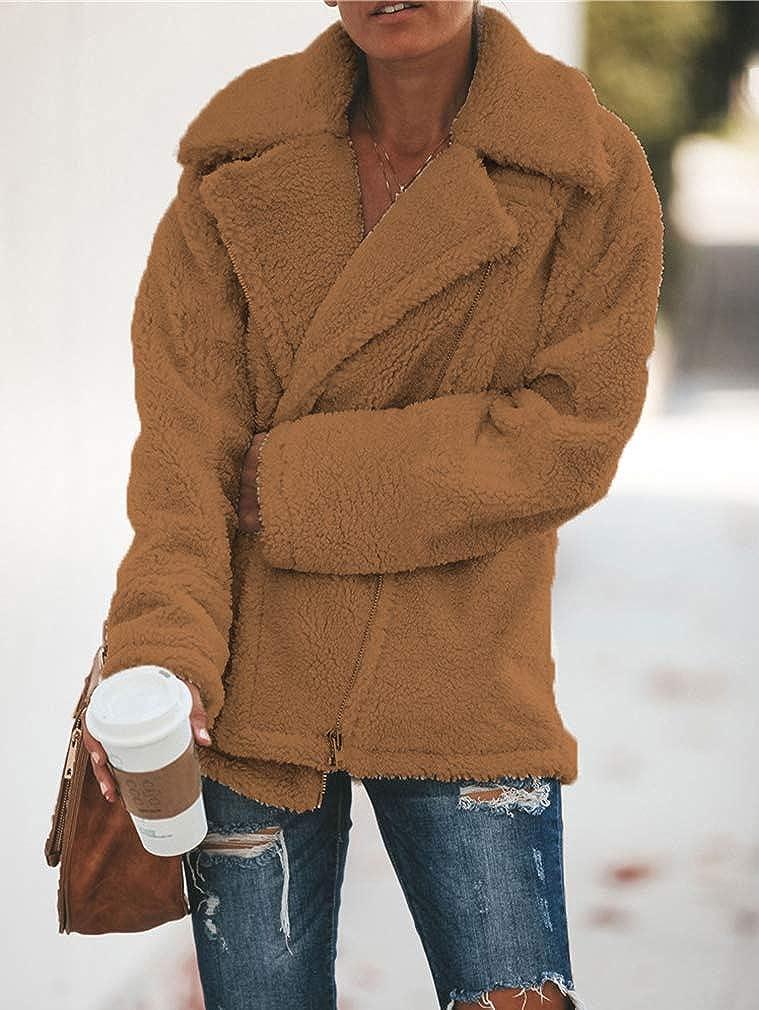 OranDesigne Damen Mantel Plüsch Jacke Revers Faux Wolle Warm Winter Outwear Stylische Zweireiher Übergroße Coat mit Taschen 02 Brown