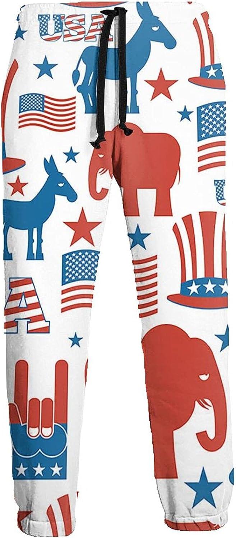 Mens Elastic Waist Sweatpants USA Elephant Hat Donkey Joggers Sweatpants for Gym Training Sport Pants