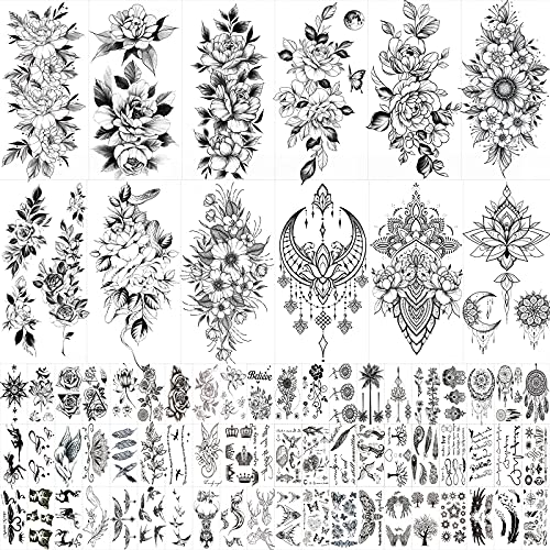 72 Sheets Large Flowers Temporary Tattoos Stickers for Women  Waterproof Fake Tattoos Body Art Arm Sketch Tattoo Stickers for Women