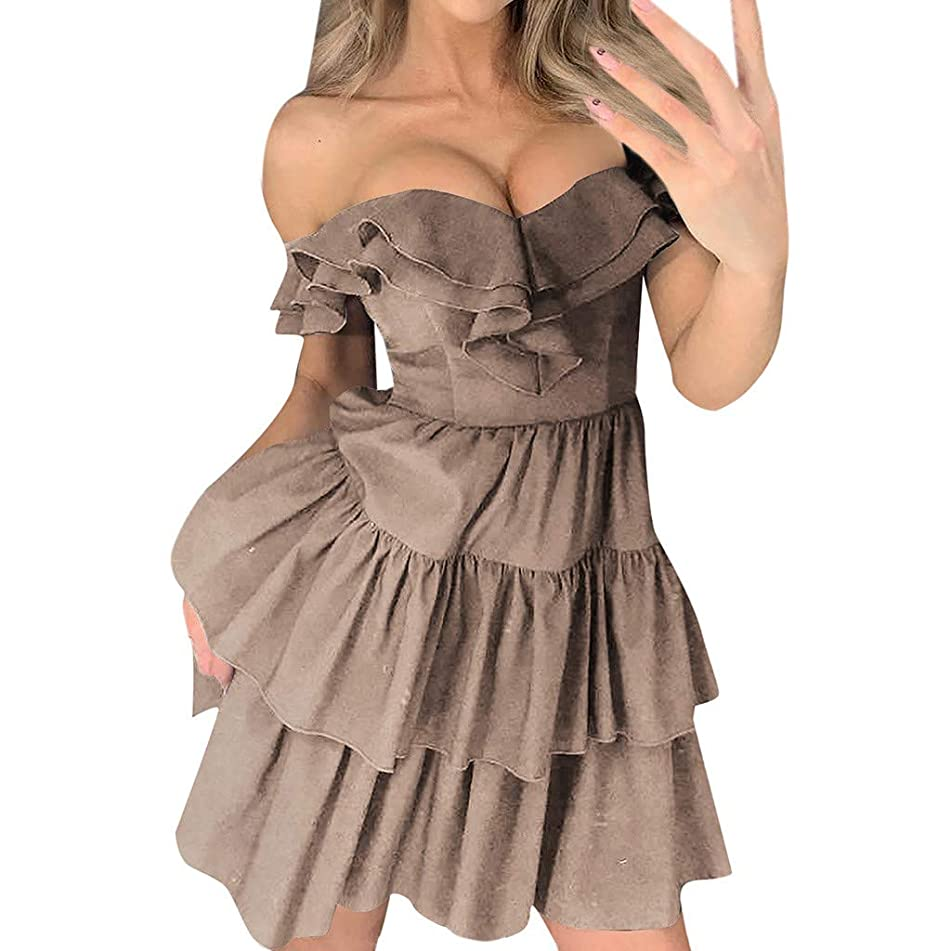 ?UNICLEE? Easter and Mother's Day New Gift Womens Holiday Sexy Solid Ruffles Off Shoulder Dress Beach Party Mini Dress (XL, Khaki)