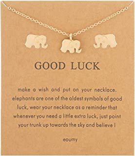 Women Unicorn Elephant Necklace Earrings Set Gold Ainmal Theme Lucky Necklace with Gift Message Card
