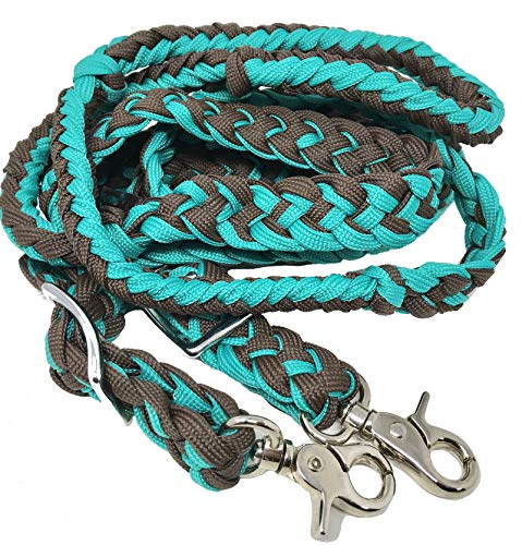 CHALLENGER Western Nylon Braided Roping Knotted Barrel Reins Teal Brown 60764