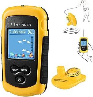 NLYWB buscador de Peces inalámbrico, buscador de Peces de Mano con Sensor de Sonar transductor y Pantalla LCD, 5 Modos de sensibilidad para Barcos, Lago y Pesca