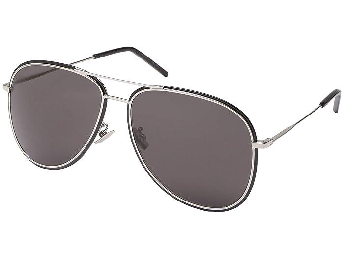 Saint Laurent SL 294/F (Shiny Silver/Black Enamel/Grey Solid) Fashion Sunglasses