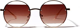 Womens Sunglasses Big Round Frame Sunglasses Female Retro Round Frame Glasses Street Fashion Big Box Hollow Color Lenses Mens Sunglasses (Color : Coffee)