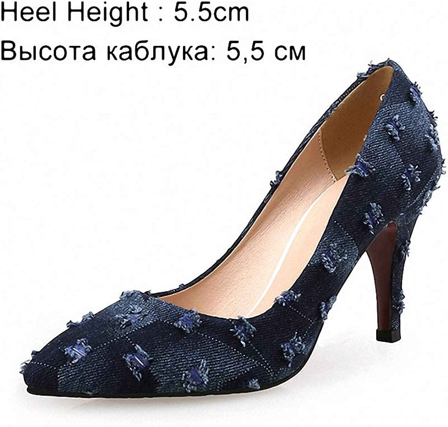 Womens High-Heeled Pumps shoes Women Pumps High Heels shoes Female Casual Thin Heel Denim Ladies shoes Fashion Slip On Pointed Toe Party shoes Heels Plus Size