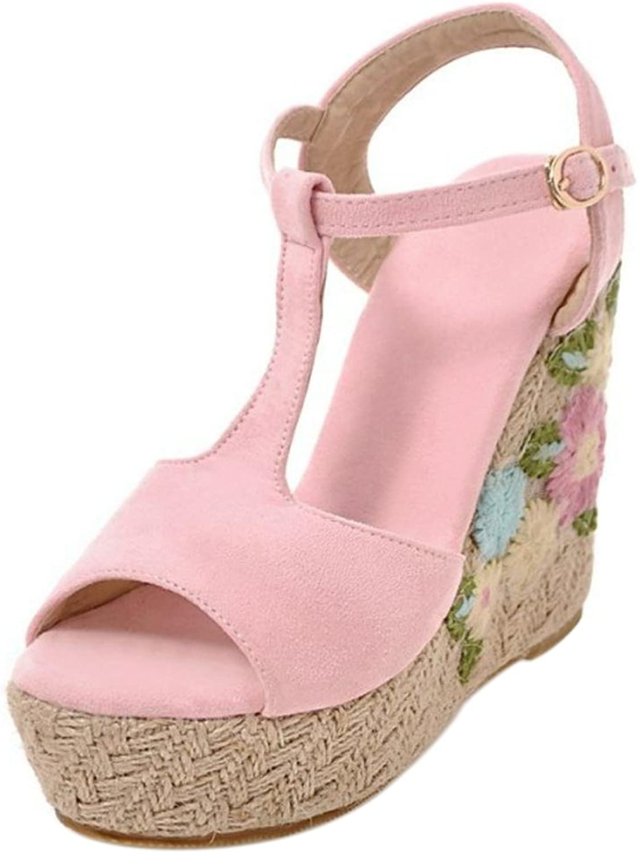 FizaiZifai Women Peep Toe Strap Sandals T Bar