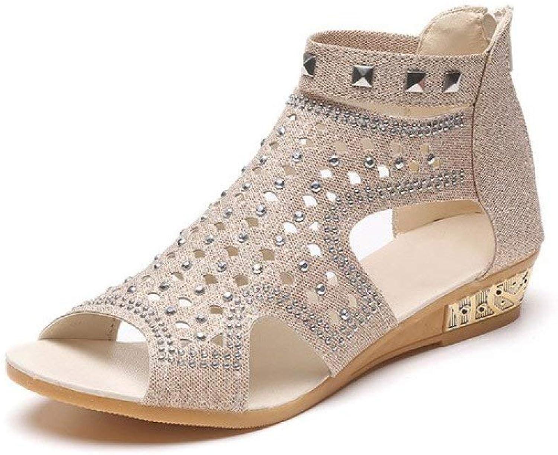 T-JULY Woman Rivet Gladiator Open Peep Toe Sandals Women shoes Crystal Sandal Fashion Casual Rome Summer shoes